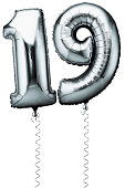 Silver balloons in the shape of a number 19