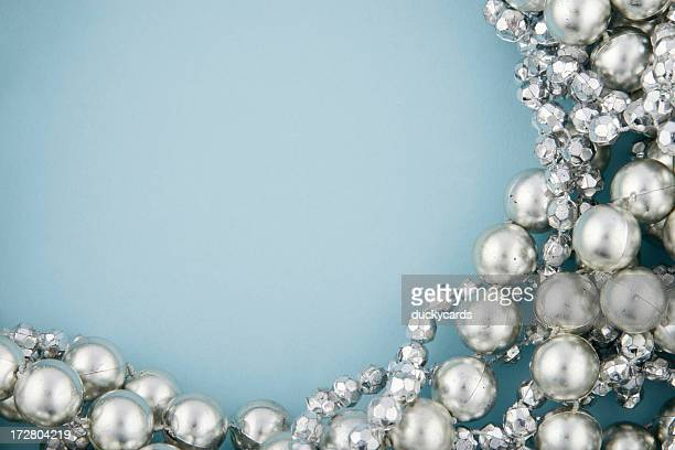 Silver Beads on Blue