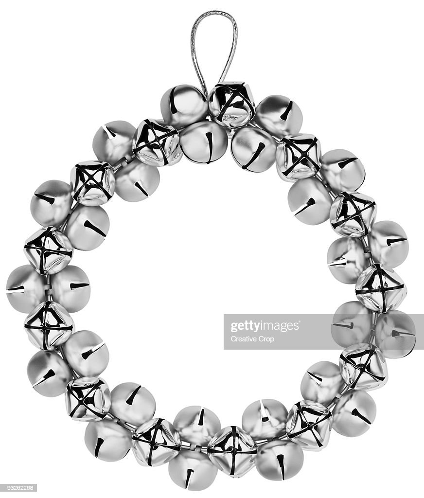 silver bell christmas wreath stock photo getty images