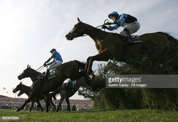 Silver Birch ridden by Robbie Power clears the fence on the way to winning the John Smith's Grand National at Aintree Racecourse Liverpool