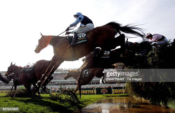 Silver Birch ridden by Robbie Power clears the water jump in the John Smith's Grand National Chase the at Aintree Racecourse Liverpool
