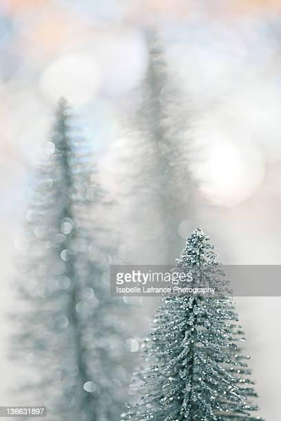 Silver bottle brush Christmas trees