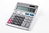 Silver calculator isolated on white background. Gray calculator over white background.