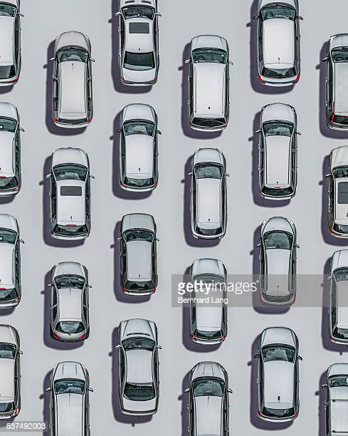 Silver cars on silver subsurface, Aerial View