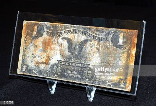 Silver Certificate Abraham Lincoln One dollar bill is seen at 'The Titanic Artifact Exhibit' at the California Science Center on October 22 2002 in...
