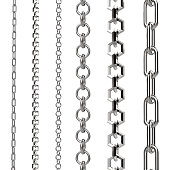 3d rendering silver chain isolated on white