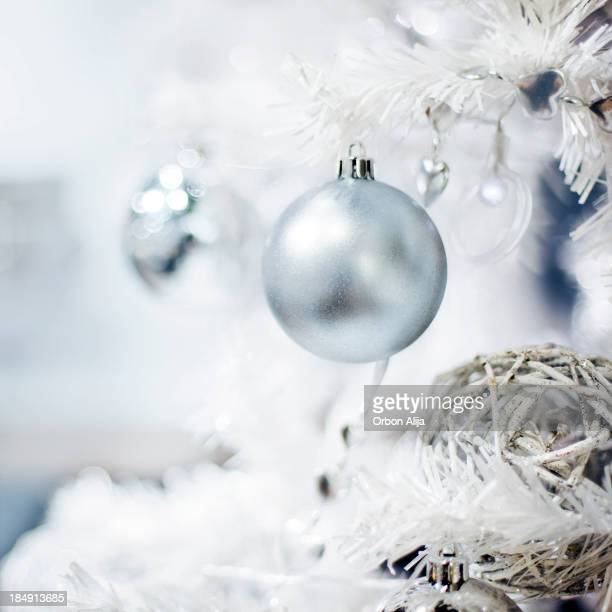 Silver christmas bauble decoration