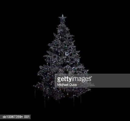 Silver christmas tree on black background stock photo - Black and silver christmas ...