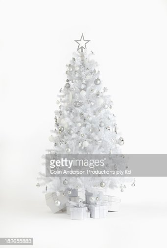 Silver Christmas tree with gifts