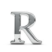 3D render of a silver chrome metal capital letter R on a plain white background
