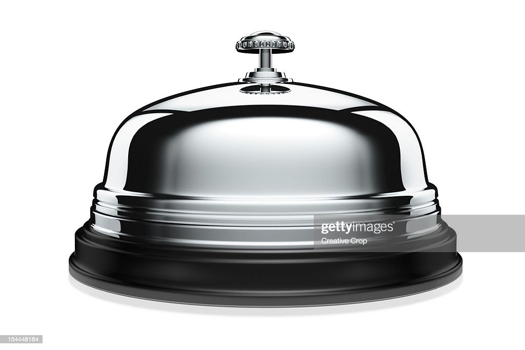 Silver / chrome desk bell / service bell : Stock Photo