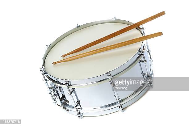 Silver Chrome Snare Drum with Sticks, Instrument on White Background
