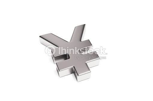Silver Color Japanese Yen Currency Symbol Isolated On White