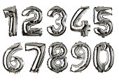 Silver colored air balloon numbers