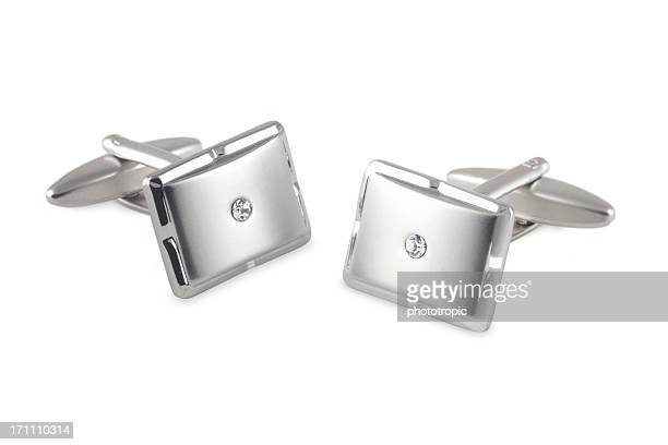 silver cufflinks with crystal inset