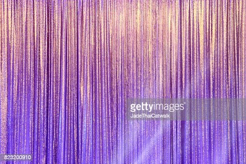 Silver Curtain Screen drape wave and lighting beam : Stock Photo