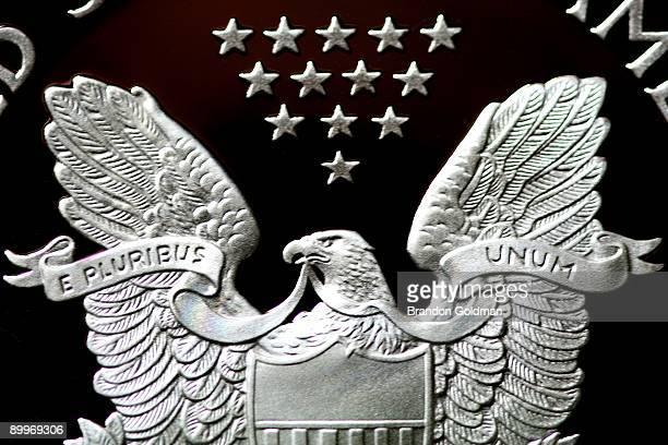 silver dollar eagle closeup