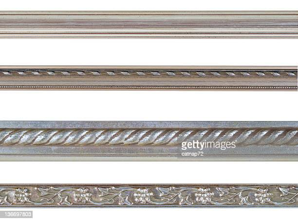 Silver Edge and Border Design Element Assortment, White Isolated
