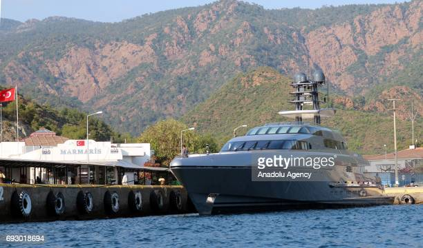 'Silver Fast' 77 meter luxury yacht belonging to the Burgess company is anchored at Marmaris harbour of Mugla Turkey on June 6 2017