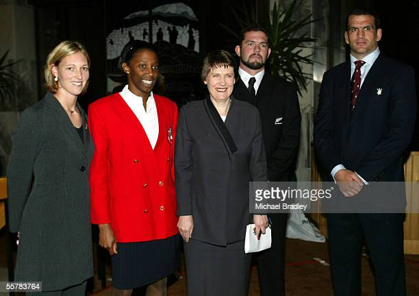 Silver Ferns captain Anna Rowberry English netball captain Amanda Newton Prime Minister Helen Clark All Black captain Rueben Thorne and Martin...
