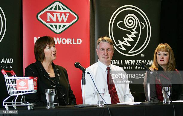 Silver Ferns head coach Ruth Aitken speaks to the media as CEO of Foodstuffs South Island Steve Anderson and Netball New Zealand CEO Raelene Castle...
