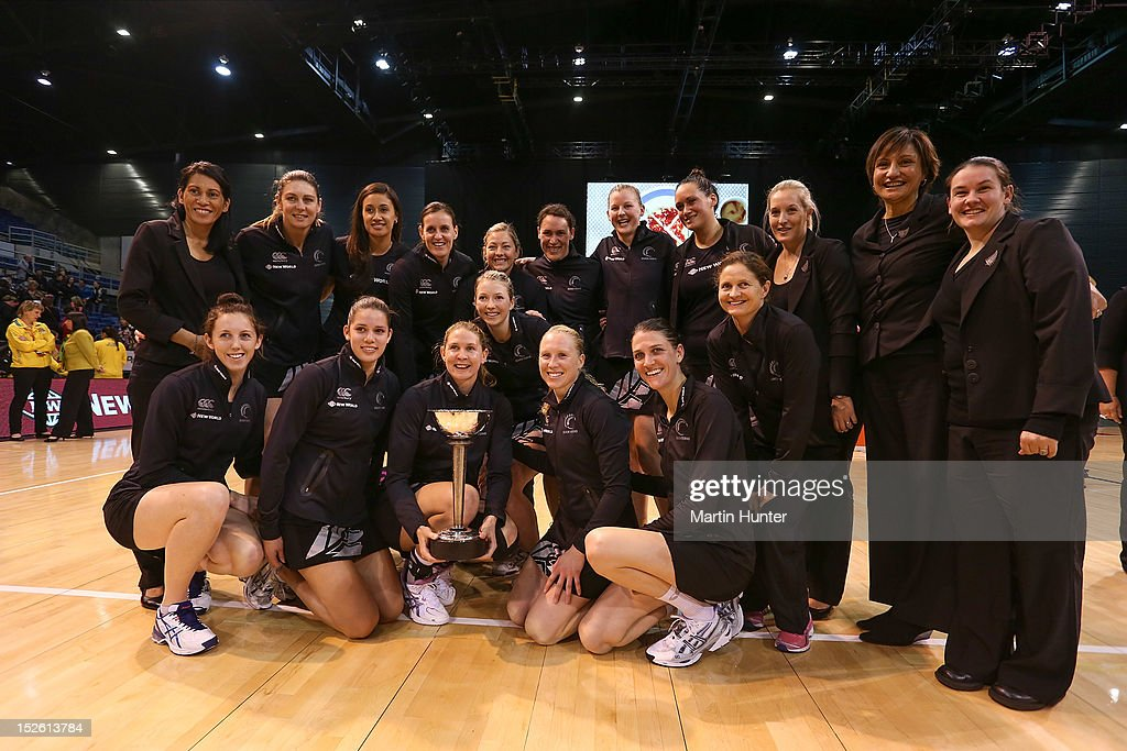 Silver Ferns pose with the Constellation Cup after the Constellation Cup match between the New Zealand Silver Ferns and the Australian Diamonds at CBS Canterbury Arena on September 23, 2012 in Christchurch, New Zealand.