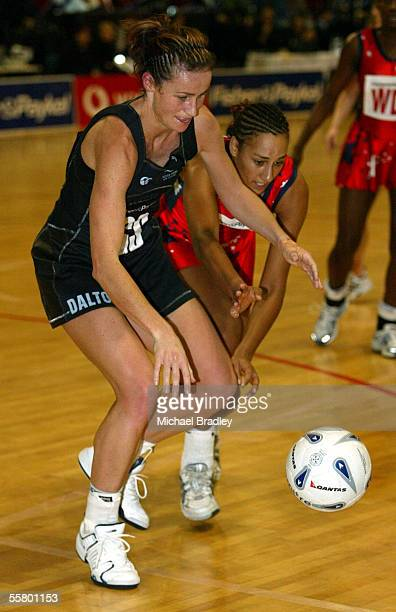 Silver Ferns Tania Dalton and Englands Geva Mentor compete for the ball during the second Fisher and Paykel netball test match between the Silver...