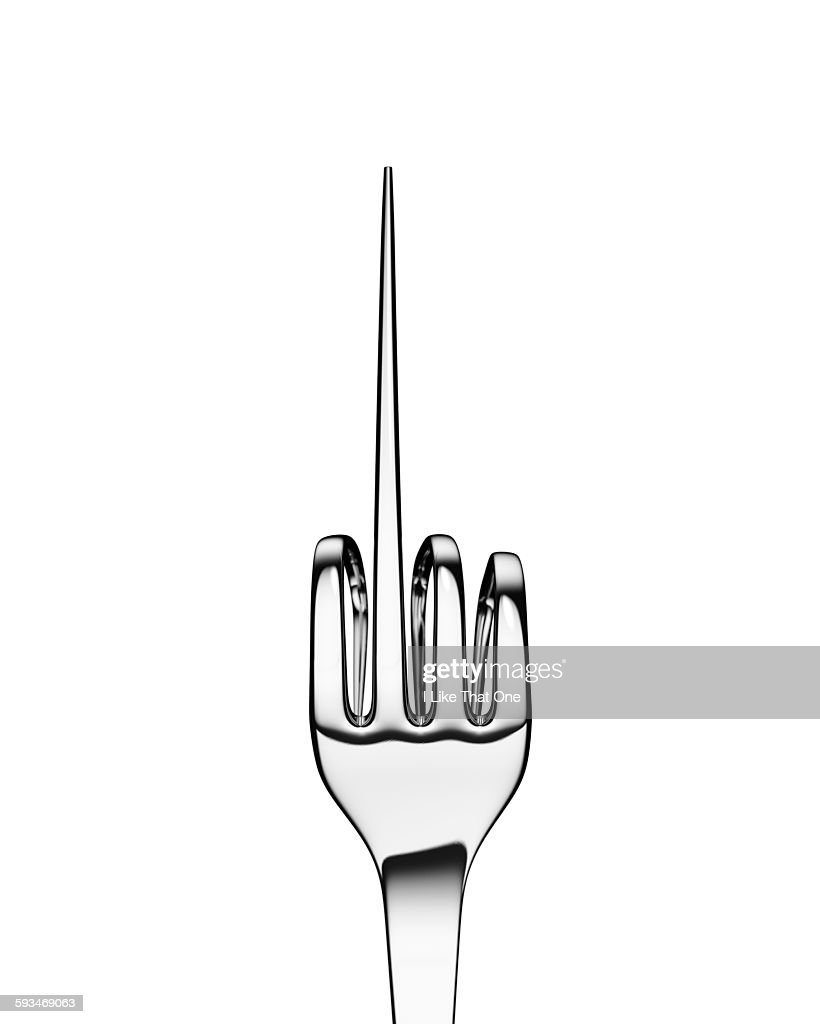 Silver fork bent to form hand sign on black : Stock Photo