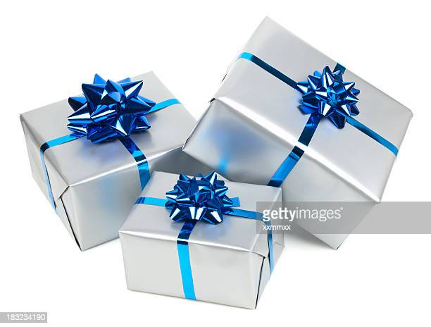Silver gift boxes with blue bows