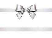 Silver gift ribbon bow isolated on white background . 3D rendering.