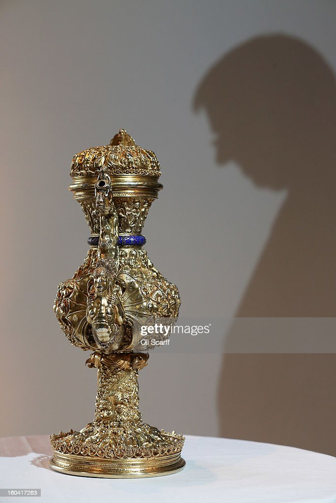 A 'silver gilt ewer with enamelled royal arms of Portugal' that dates from around 1510 AD in the Institute of Contemporary Arts, prior to an announcement of a major bequest of silver artifacts to the Ashmolean Museum on January 31, 2013 in London, England. The Ashmolean has received a major collection of around 500 silver objects from the Renaissance and Baroque periods from the late silver merchant and expert Michael Wellby who died last year.