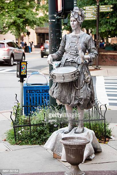 Silver Girl With Her Drum