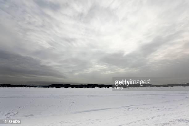 Ciel gris argent sur un lac gelé.