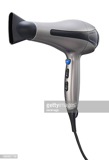 Silver Hair dryer isolated on white background
