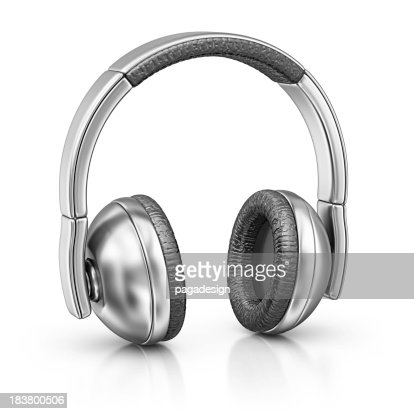 Silver headphones on white background