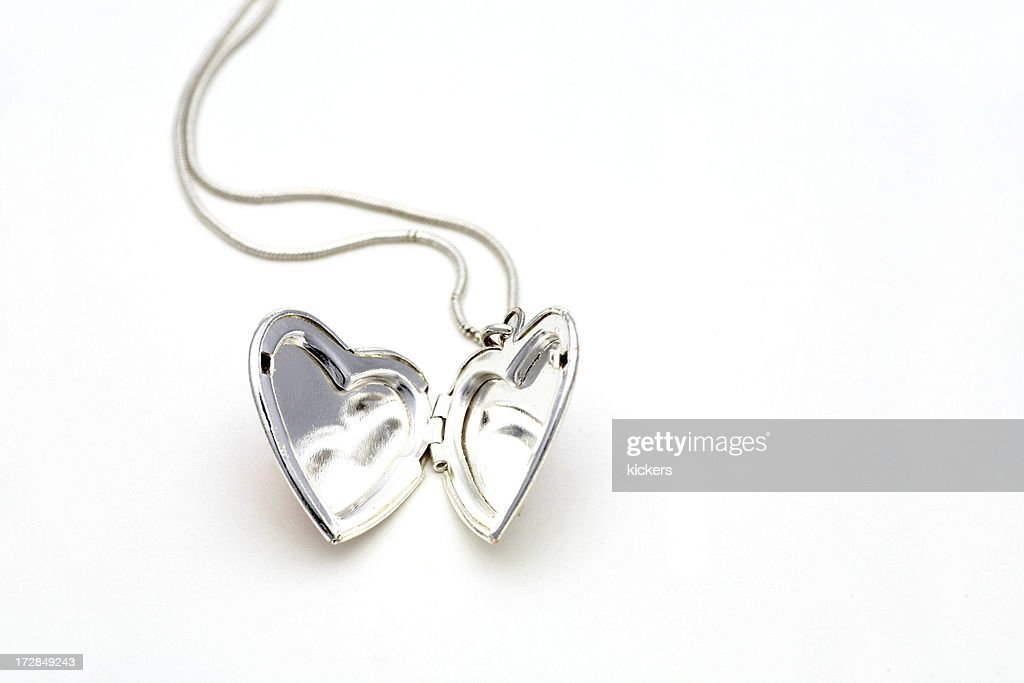 Silver heart necklace : Stock Photo