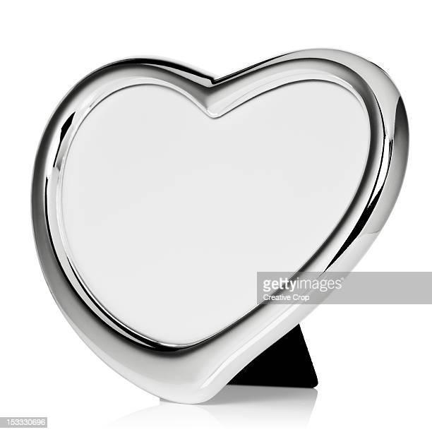 Silver heart shaped photo frame