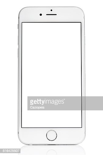 Silver iPhone 6 Isolated on White with Blank Screen