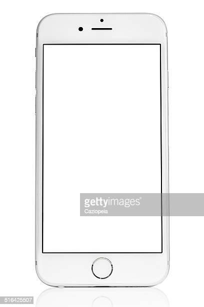 Silver iPhone 6, isoliert auf weiss mit leeren Bildschirm