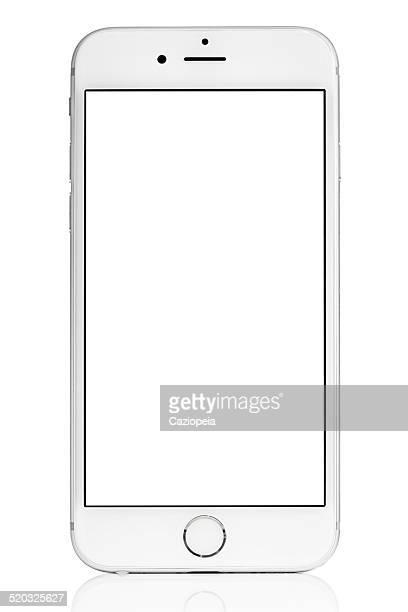 Argent iPhone 6 isolé sur blanc avec un écran vide