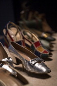 Silver leather shoes from around 1966 by Mario for Eugenia of Florence on display at the Victoria Albert Museum's Glamour of Italian Fashion 19452014...