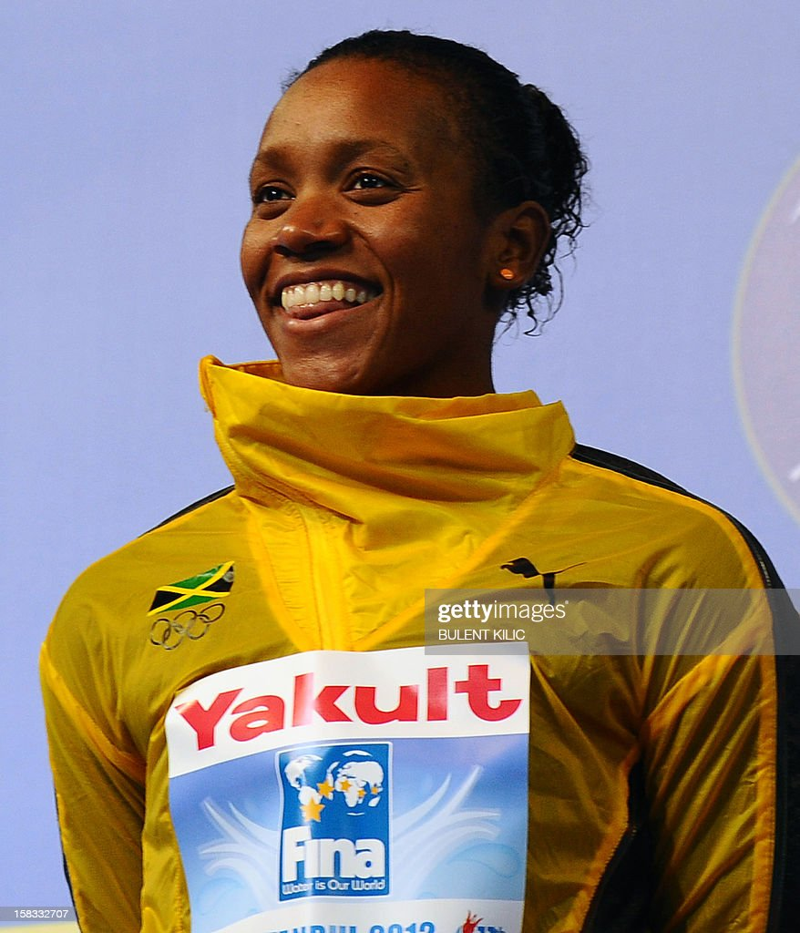 Silver medal winner Alia Atkinson of Jamaica poses after the women's 50m breasttroke on December 13, 2012 of the FINA World Short Course Swimming Championships in Istanbul.