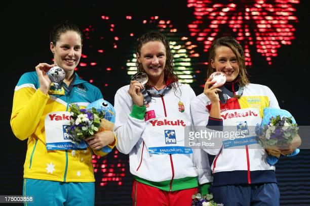 Silver medal winner Alicia Coutts of Australia Gold medal winner Katinka Hosszu of Hungary and Bronze medal winner Mirela Belmonte Garcia of Spain...