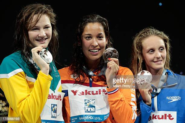 Silver medal winner Cate Campbell of Australia Gold medal winner Ranomi Kromowidjojo of the Netherlands and Bronze medal winner Francesca Halsall of...
