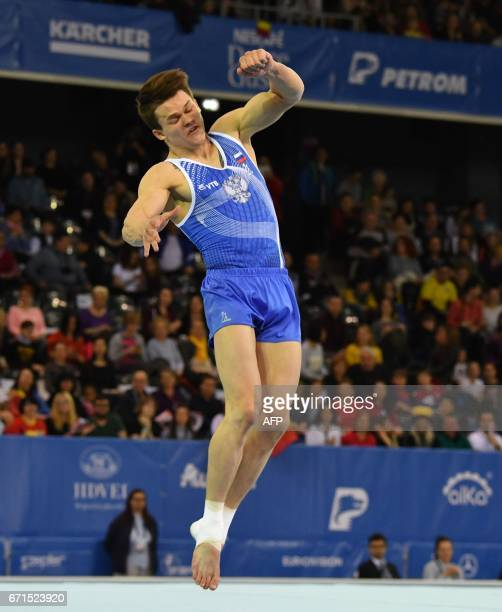 Silver medal winner Dmitrii Lankin of Russia performs during the men's floor apparatus final of the European Artistic Gymnastics Championship in Cluj...