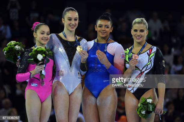 Silver medal winner Elena Eremina of Russia Gold winner Nina Derwael of Belgium Bronze winners Elissa Downie of Great Britain and Elisabeth Seitz of...
