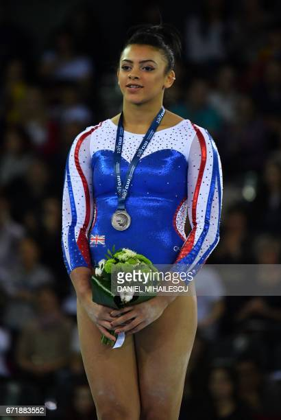 Silver medal winner Elissa Downie of Great Britain poses during the medals ceremony for the women floor of apparatus final for the European Artistic...