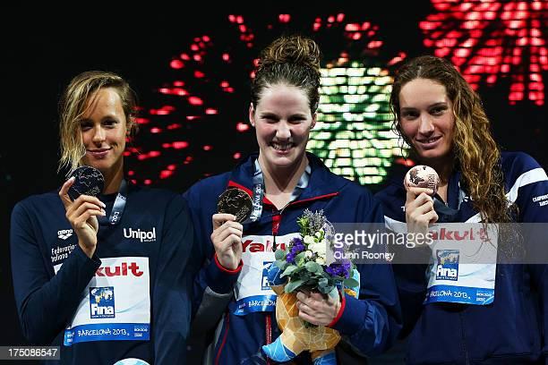 Silver medal winner Federica Pellegrini of Italy Gold medal winner Missy Franklin of the USA and Bronze medal winner Camille Muffat of France...