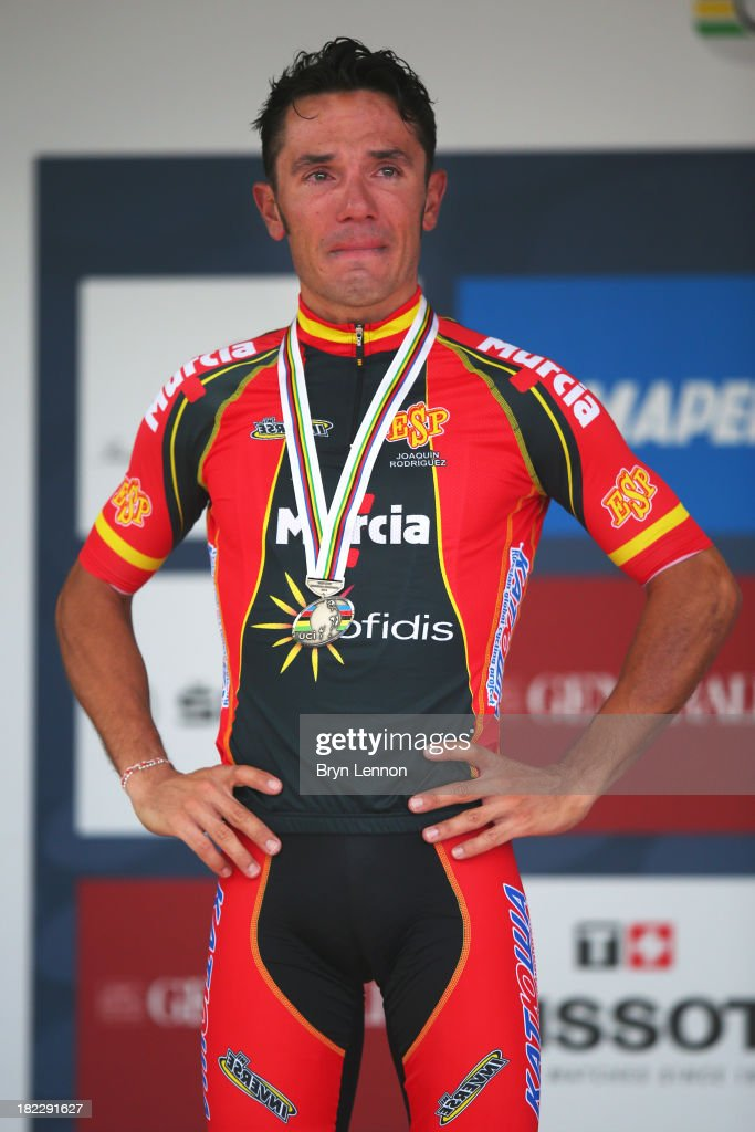Silver medal winner Joaquin 'Purito' Rodriguez of Spain breaks down in tears on the podium after the Elite Men's Road Race, a 272km race from Lucca to Florence on September 29, 2013 in Florence, Italy.