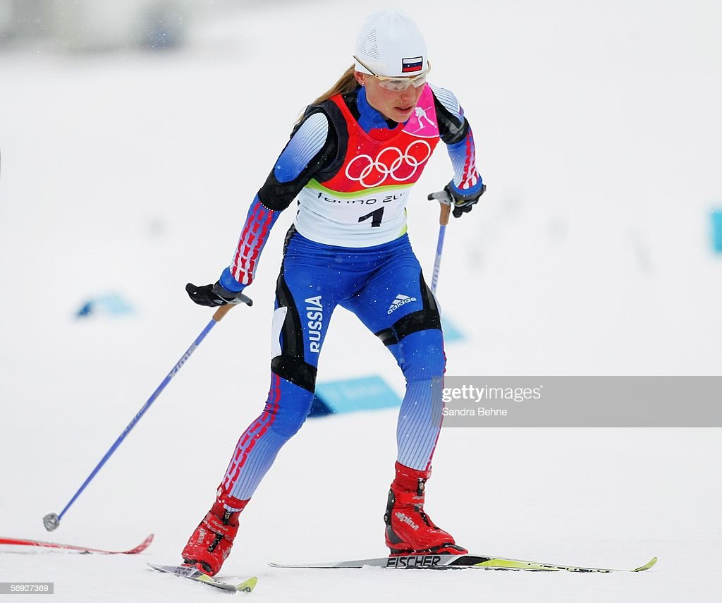 Silver Medal winner Julija Tchepalova of Russia competes in the Womens Cross Country Skiing 30km Mass Start Final on Day 14 of the 2006 Turin Winter...
